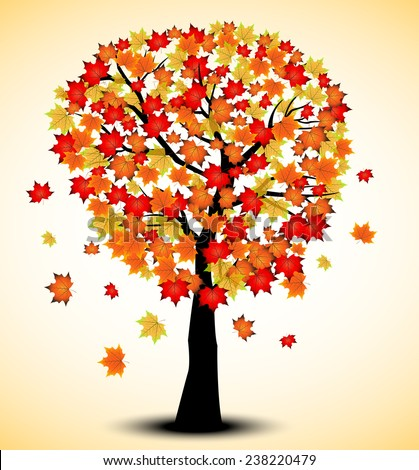 Decorative Autumn Tree Silhouette With Brown Leaves - stock photo