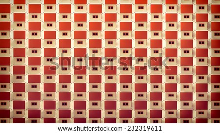 decorative background with tiny houses arranged in rows - stock photo