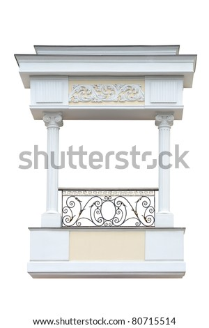 Decorative   balcony  in old-time stiletto. Isolated over white background. - stock photo