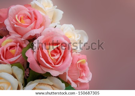 decorative beautiful artificial rose flowers  - stock photo