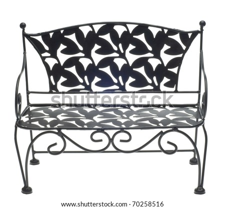 Decorative Bench Isolated on White with a Clipping Path. - stock photo