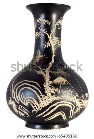 decorative black vase. isolated on white - stock photo
