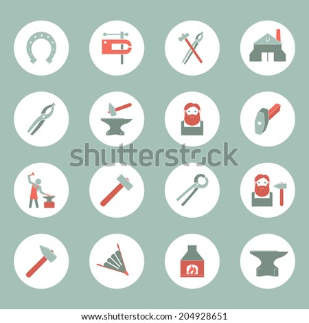 Decorative blacksmith shop anvil cast iron tongs and horseshoe solid round plate pictograms collection isolated  illustration