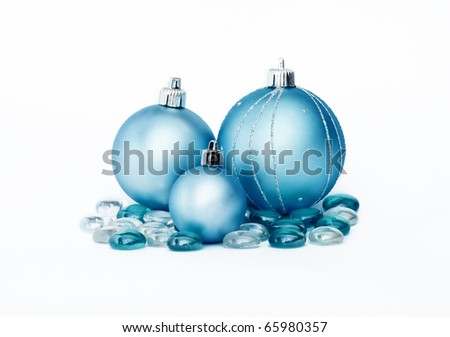 Decorative blue new year balls