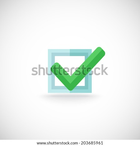 Decorative blue square contour checkbox green color tick approval confirmation chek mark internet symbol pictogram  illustration - stock photo