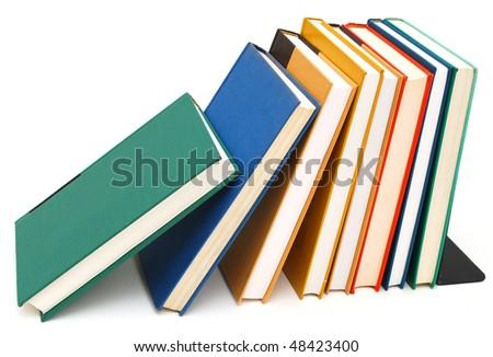 decorative bookshelf on white background - stock photo