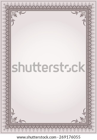 Decorative border frame background certificate template - stock photo