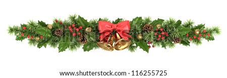 Decorative border from a Christmas tree branches, a holly and bells with a ribbon. - stock photo