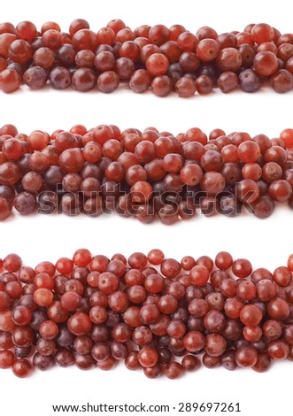 Decorative border line made of multiple dark red grapes isolated over the white background, set of three different foreshortenings - stock photo