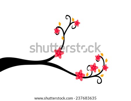 Decorative Branch Tree Silhouette With Red Flower and Yellow Leaf - stock photo