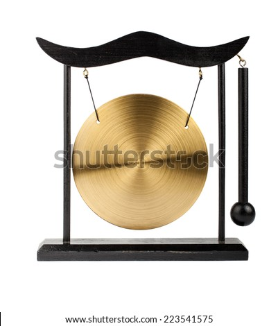 Decorative bronze gong isolated on white background - stock photo