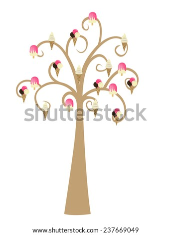 Decorative Brown Tree Silhouette With Ice Cream - stock photo