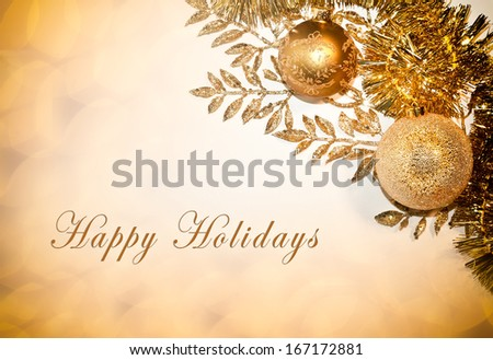 Decorative card with Happy Holidays text, balls and glitter - stock photo