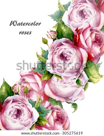 decorative card with watercolor roses