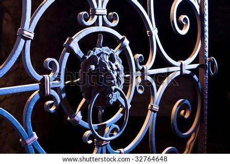 decorative cast-iron gates - stock photo