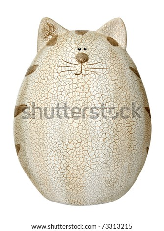 Decorative cat on a white background Isolated - stock photo