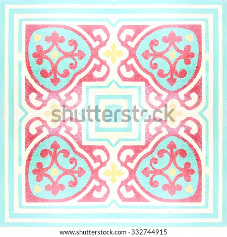 Decorative ceramic tiles patterns texture background in the park public - stock photo