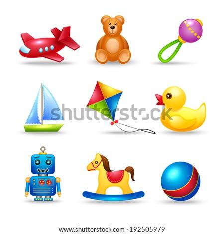 Decorative children toys icons set of airplane teddy bear rattle boat isolated  illustration - stock photo