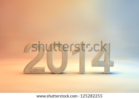Decorative 2014 Christmas and New Year Card with a soft colour gradient from brown to blue and 3d numerals for the date, copyspace above for your seasonal greeting and message - stock photo