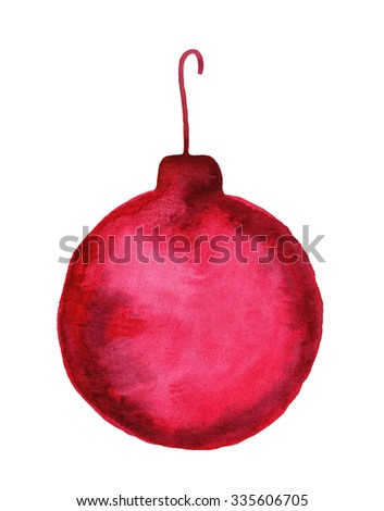 Decorative christmas ball. Watercolor illustration. Hand painted design element. - stock photo
