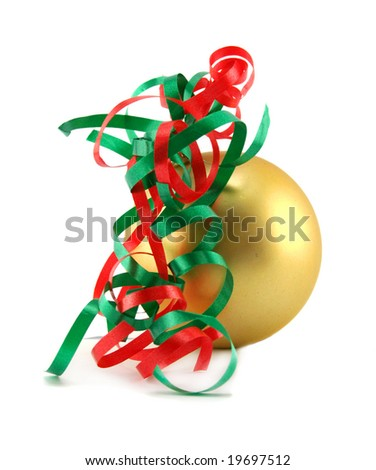 Decorative Christmas bauble with red and green ribbon. - stock photo
