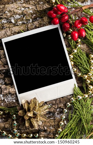 Decorative christmas composition and polaroid photo frames - stock photo