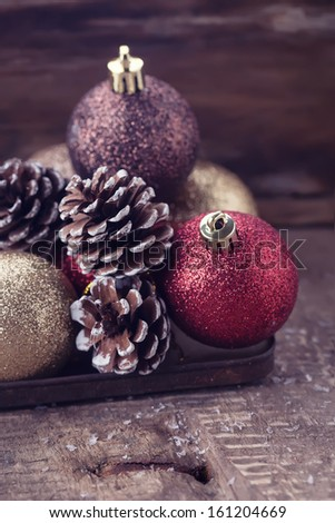 Decorative christmas composition on wooden background. Postcard. Retro style. Selective focus. - stock photo