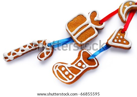 Decorative Christmas cookies on a white background - stock photo