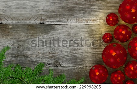 decorative christmas image with wooden background and copy space - stock photo