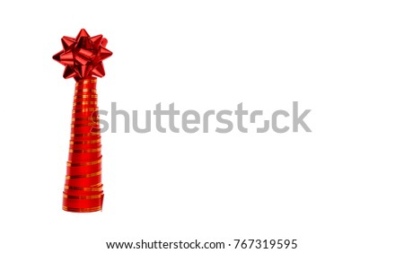 Decorative Christmas tree. Christmas tree made from ribbon isolated on white. Style minimalism