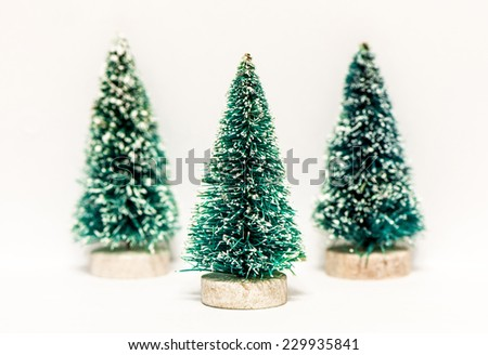 Decorative Christmas trees isolated on white - stock photo