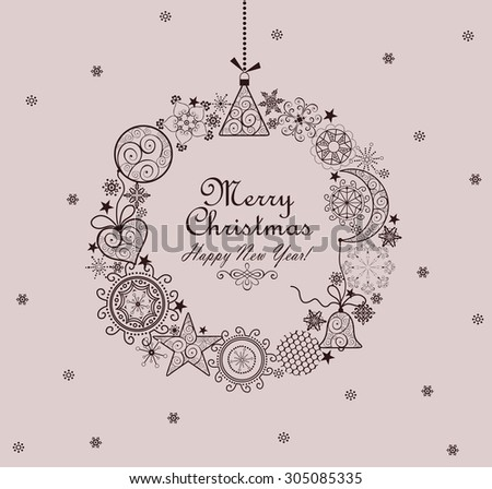 Decorative christmas vintage wreath - stock photo