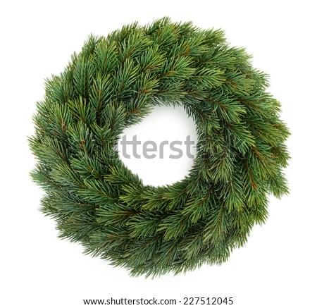 Decorative Christmas wreath isolated on white - stock photo