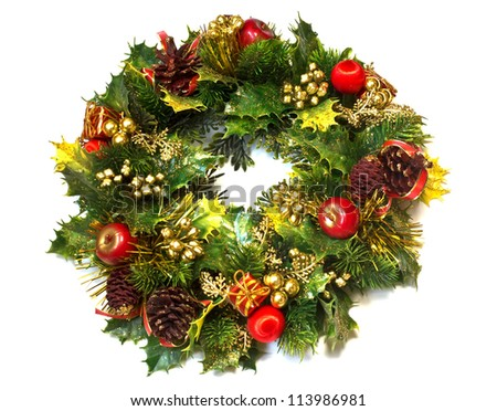 Decorative christmas wreath isolated on white background - stock photo