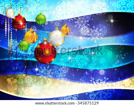 Decorative colorful background with Christmas balls and snowflakes.