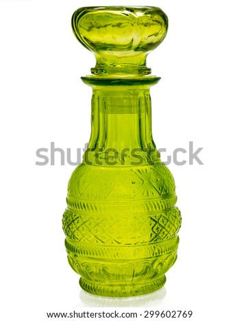 Decorative colorful bottle on white background