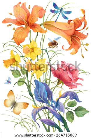 Decorative colorful composition of flowers and flying insects isolated on white - stock photo