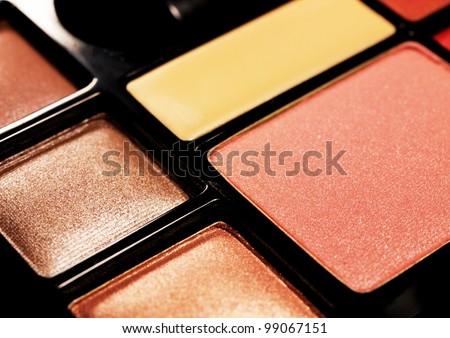 Decorative colorful makeup set , close up shot - stock photo