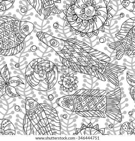 Decorative contour seamless pattern with marine life and contour drawing seaweeds . Textile and wallpaper sea background.