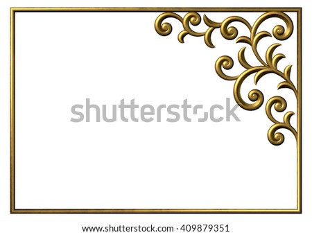 Decorative corner frame floral pattern. 3d gold ornament with curl and swirl - stock photo