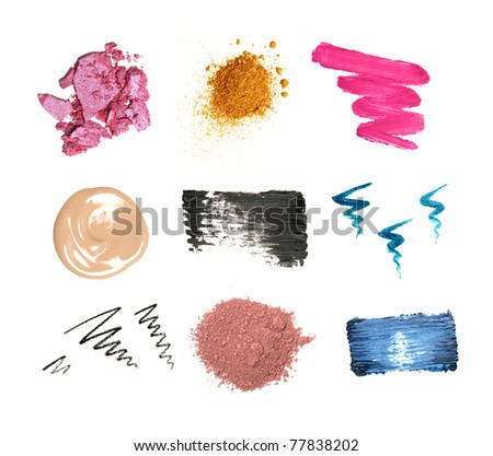 Decorative cosmetic samples isolated on white. Lipstick, lip gloss, eyeshadow, pencil and mascara strokes, powder, foundation spilling. - stock photo
