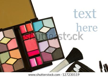 Decorative cosmetics  isolated on white background - stock photo