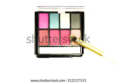Decorative cosmetics isolated over white background. lipstick supplies - stock photo