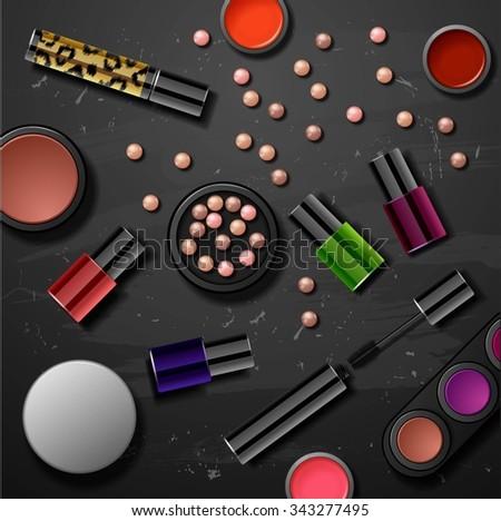 decorative cosmetics make up accessories beauty store - stock photo