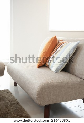 Decorative Cushion on modern sofa set - stock photo