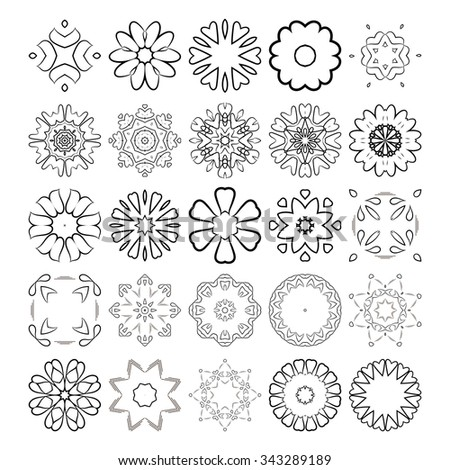 Decorative design elements. Circle ornament. Set of circular patterns / florets / snowflakes / asterisks for decoration of your works. - stock photo