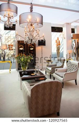 decorative details in classic interior - stock photo