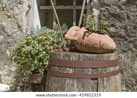 Decorative Details of the streets of the small half-ruined village Krsan in Istria - stock photo