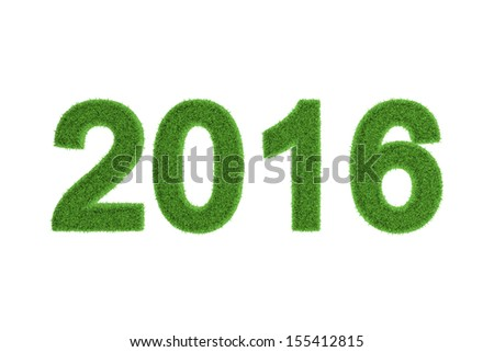 Decorative eco-friendly three-dimensional green grass numbers for the 2016 New Year and Christmas celebrations, seasonal greeting card, invitation or congratulations isolated on white - stock photo