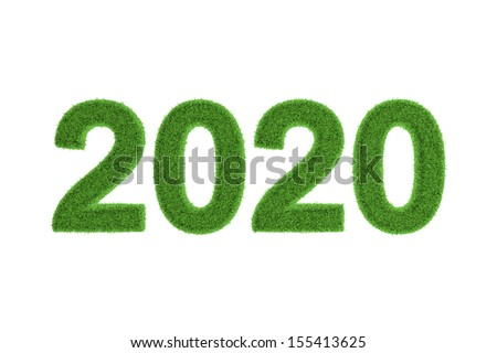 Decorative eco-friendly three-dimensional green grass numbers for the 2020 New Year and Christmas celebrations, seasonal greeting card, invitation or congratulations isolated on white - stock photo